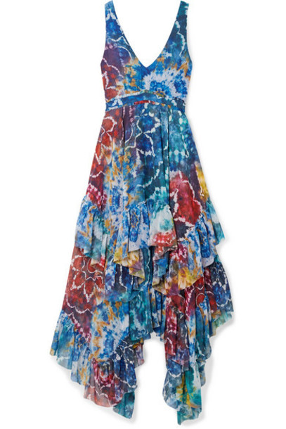 Alice + Olivia Alice Olivia - Ilia Ruffled Printed Georgette Midi Dress - Blue