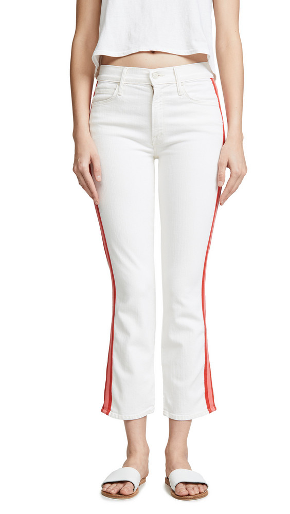 MOTHER Mid Rise Dazzler Crop Jeans in cream / pink
