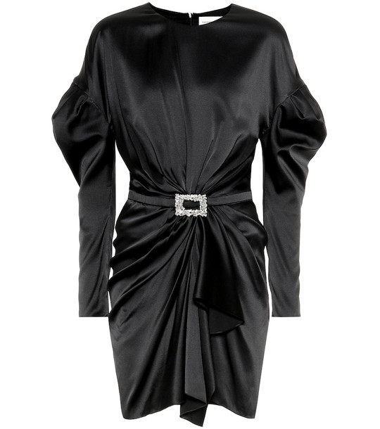 Alexandre Vauthier Embellished satin minidress in black