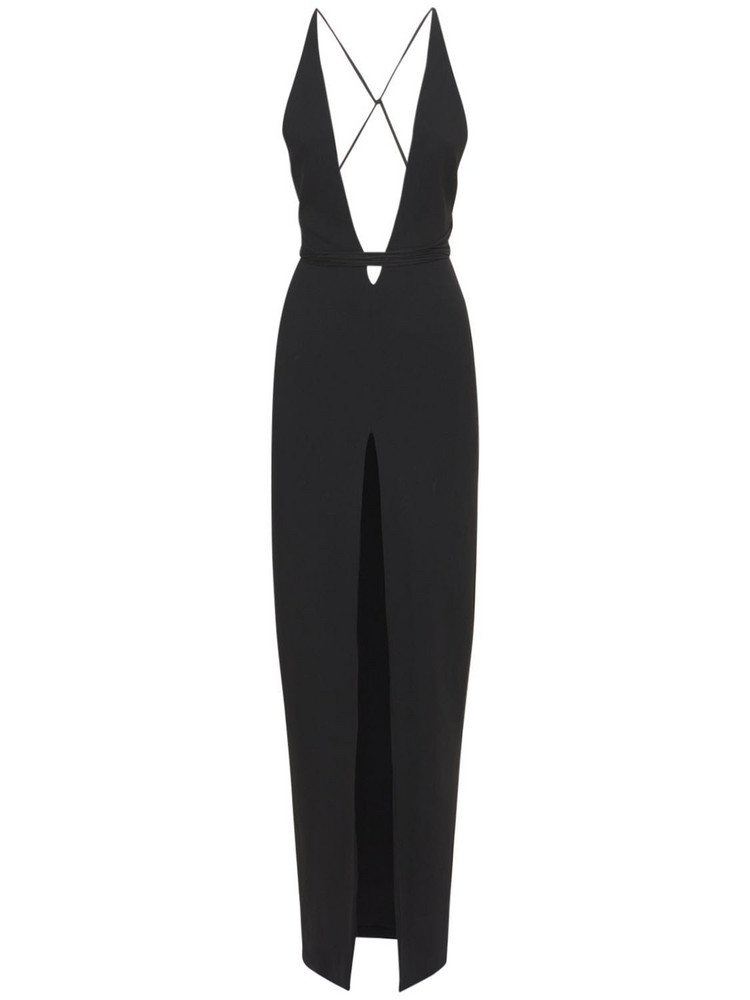 MÔNOT Halter Neck Crepe Long Dress W/deep Slit in black