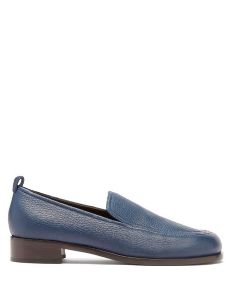 The Row - Topstitched Leather Loafers - Womens - Navy
