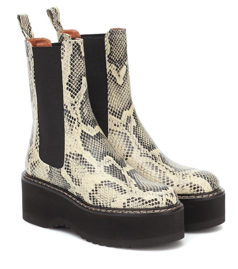 Paris Texas Snake-effect leather platform boots in beige