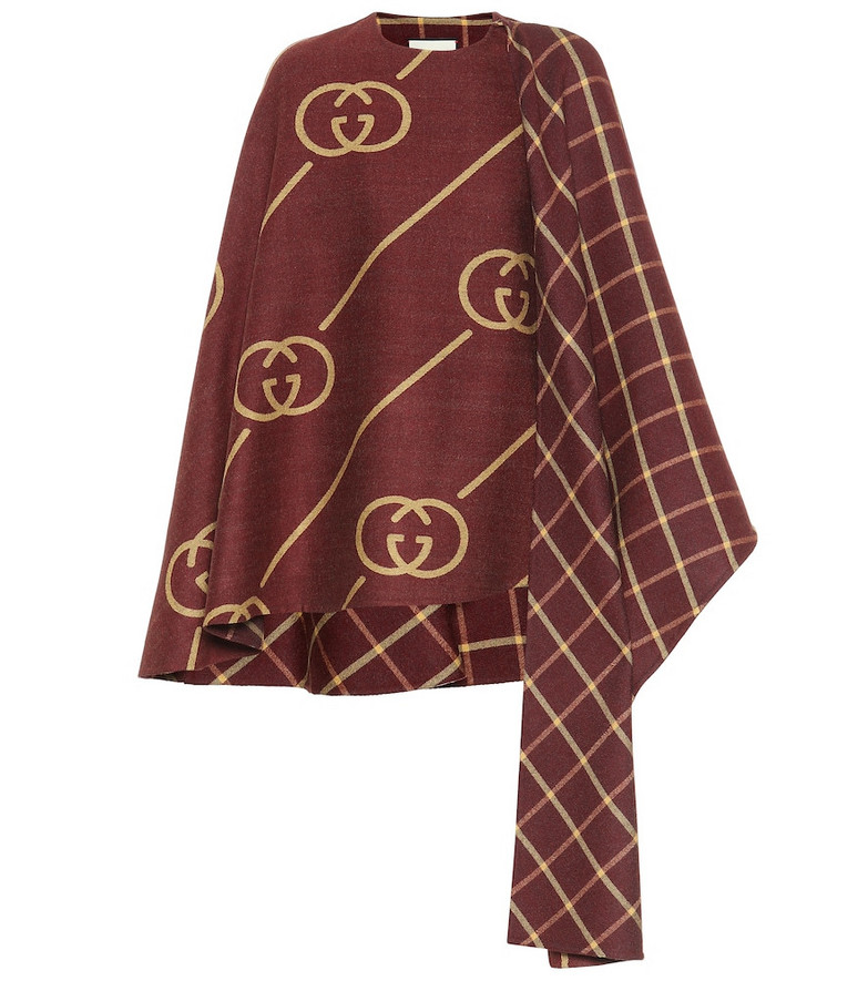 Gucci Wool and silk cape in brown