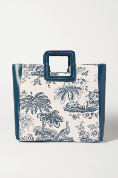 STAUD - Shirley Leather And Printed Cotton-canvas Tote - Blue