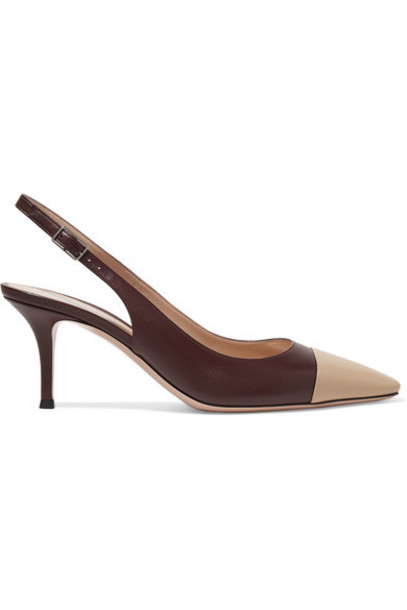 Gianvito Rossi - Lucy 70 Two-tone Leather Slingback Pumps - Merlot