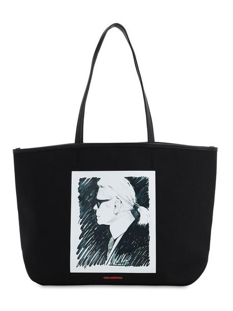 KARL LAGERFELD Karl Legend Printed Canvas Tote in black