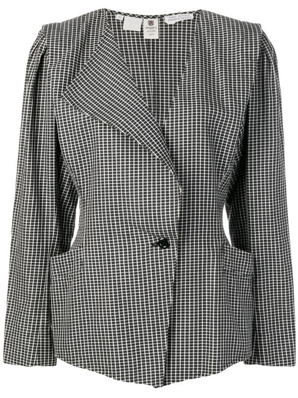 Emanuel Ungaro Pre-Owned single breasted check blazer in black