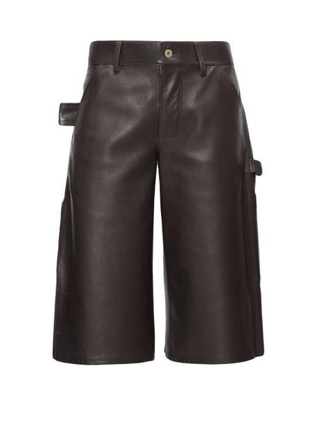 Bottega Veneta - Leather Bermuda Shorts - Womens - Dark Brown