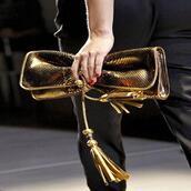 bag,clutch,metallic clutch,gold clutch,nail polish,tassel