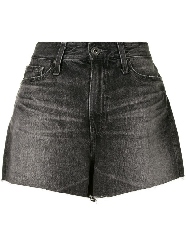 AG Jeans raw-edge high-waisted shorts in black