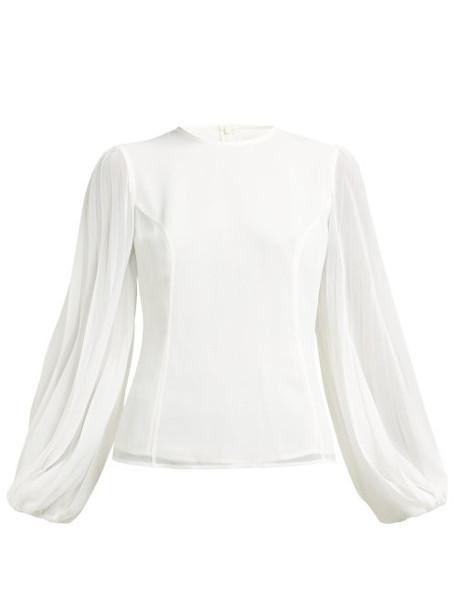 Zimmermann - Sunray Body Bishop Sleeve Crepe Blouse - Womens - White