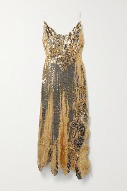 Paco Rabanne - Asymmetric Metallic Guipure Lace-trimmed Sequined Georgette Midi Dress - Gold