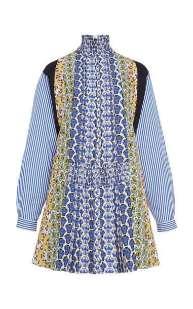 Prada Printed Smocked Mini Dress in print