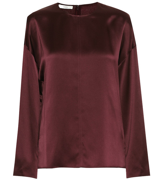 Vince Silk-satin blouse in brown