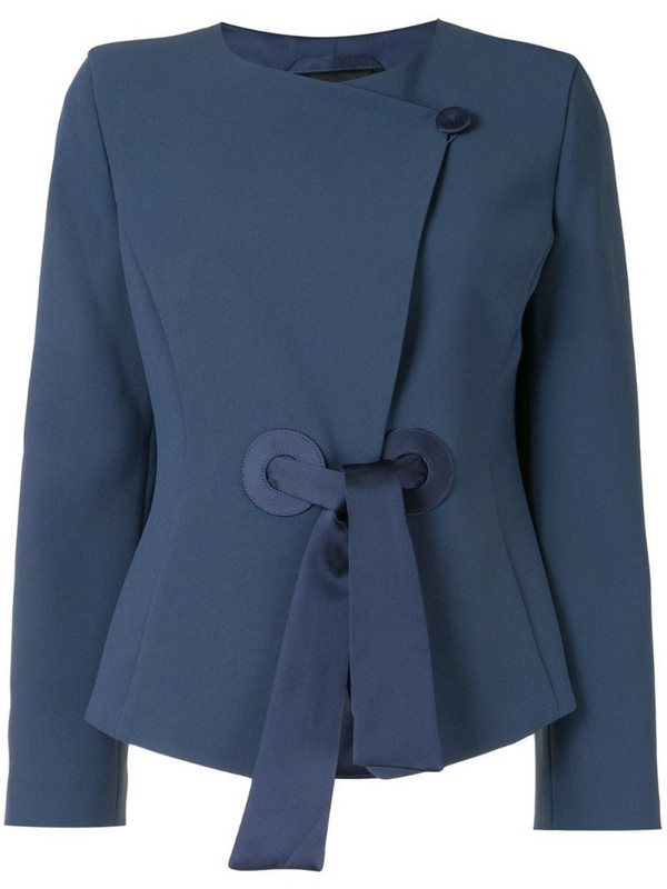 Emporio Armani tie-fastening fitted jacket in blue