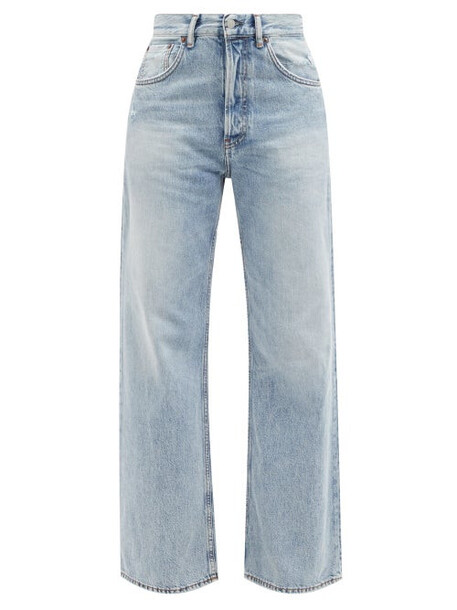 Acne Studios - Distressed Wide-leg Jeans - Womens - Light Denim