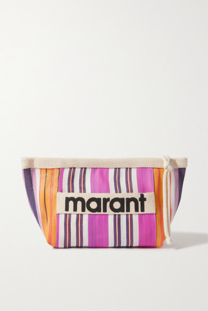 Isabel Marant - Powden Canvas-trimmed Striped Woven Clutch - Pink
