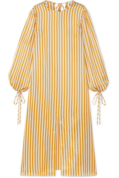 Olivia von Halle - Margeaux Striped Silk-satin Midi Dress - Saffron