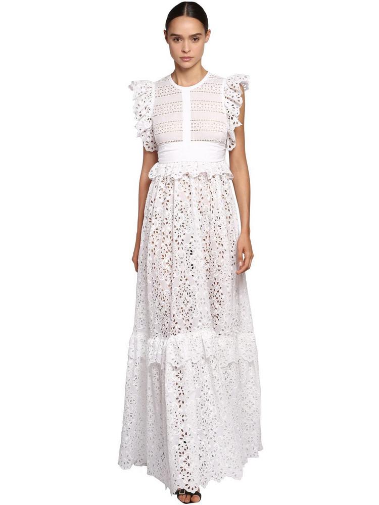 ELIE SAAB Lace & Poplin Long Dress W/ Ruffles in white