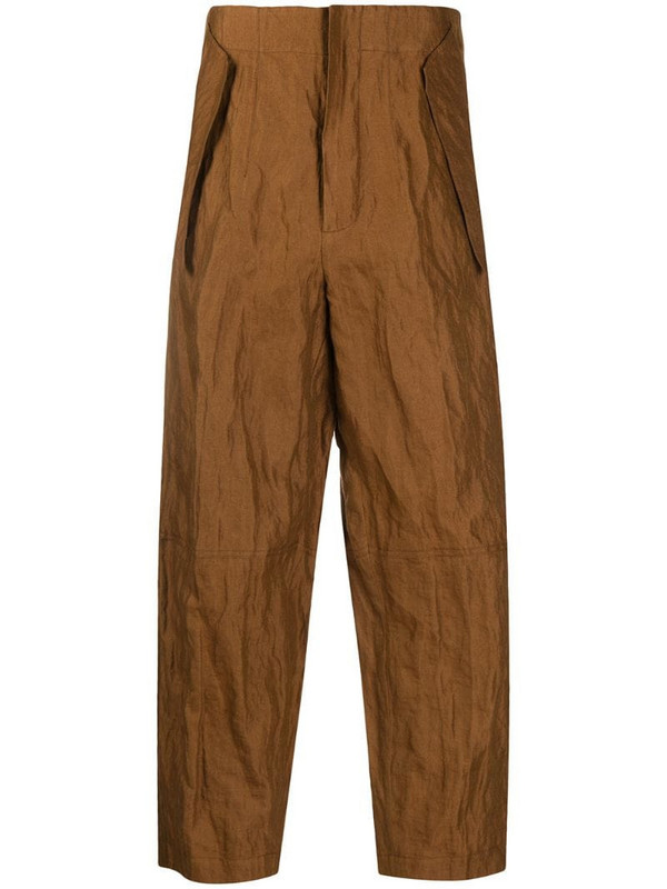 Gentry Portofino crinkle-effect cropped trousers in brown