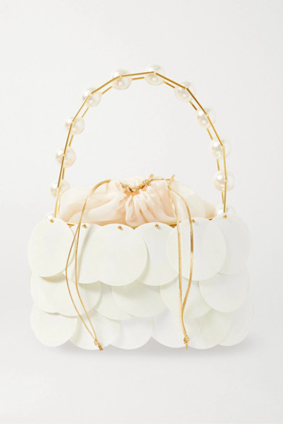 Vanina - Boutons D'or Embellished Gold-tone And Tulle Shoulder Bag - White