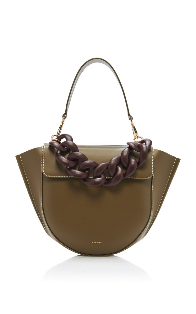 Wandler Hortensia Medium Chain-Detailed Leather Bag in green