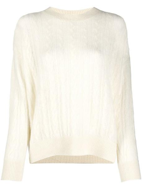 Agnona cashmere cable-knit jumper in white