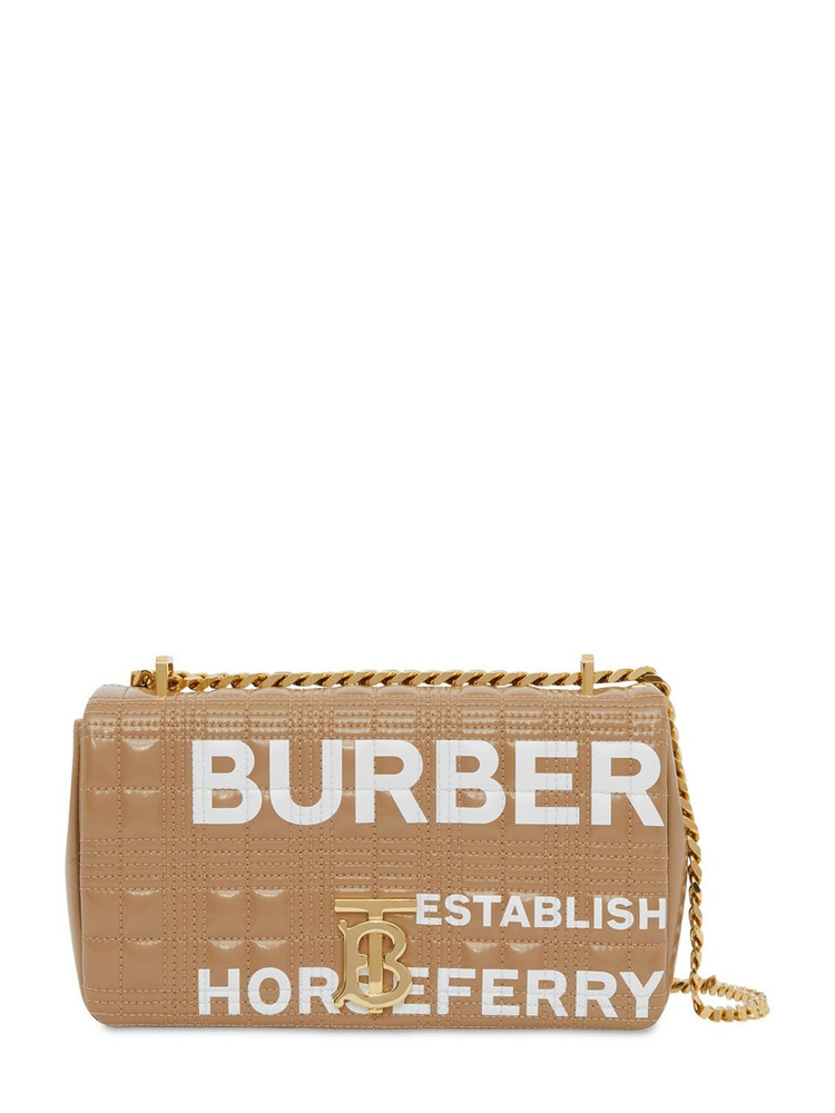 BURBERRY Sm Lola Logo Print Coated Canvas Bag in camel