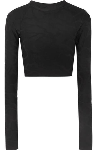 TWENTY Montréal - Camo Zebra 3d Cropped Stretch Jacquard-knit Top - Black