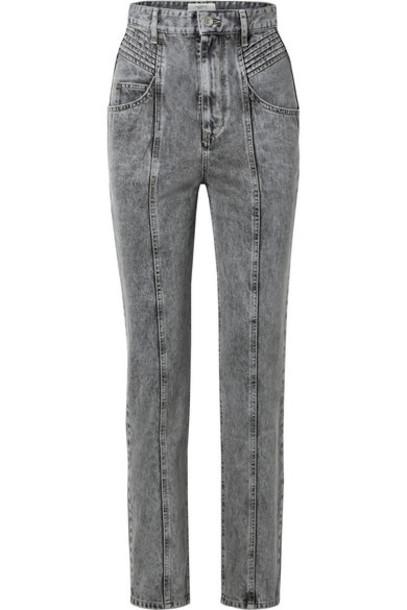 Isabel Marant Étoile - Henoya Acid-wash High-rise Slim-leg Jeans - Gray