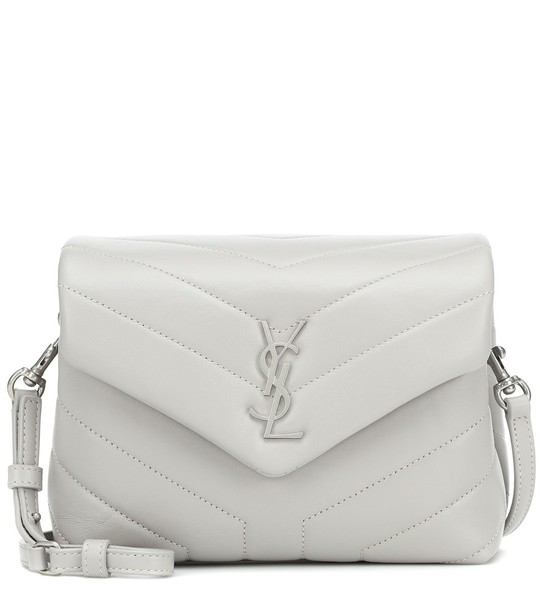 Saint Laurent Toy Loulou leather shoulder bag in grey