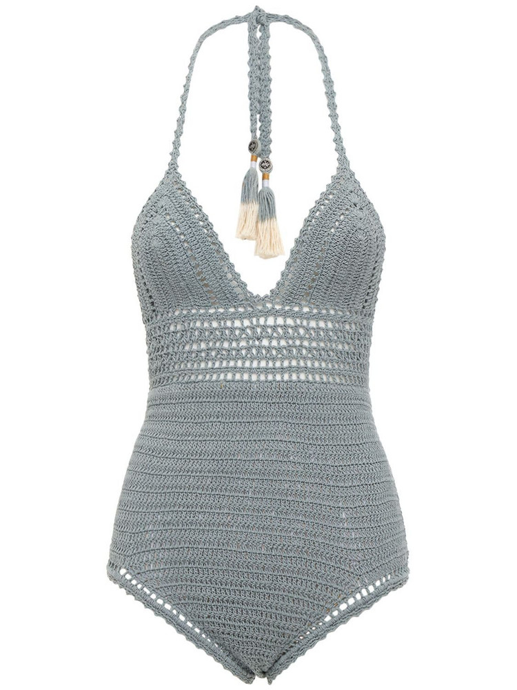 SHE MADE ME Zari Crocheted One Piece Swimsuit in blue