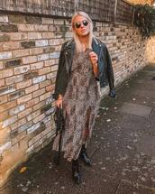 dress,midi dress,patent shoes,ankle boots,black bag,slit dress,black jacket,leather jacket