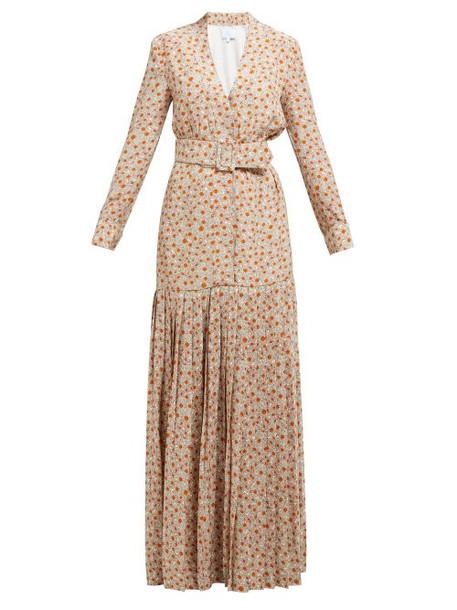 Rebecca De Ravenel - Daisy Print Belted Pleated Silk Dress - Womens - Beige Multi