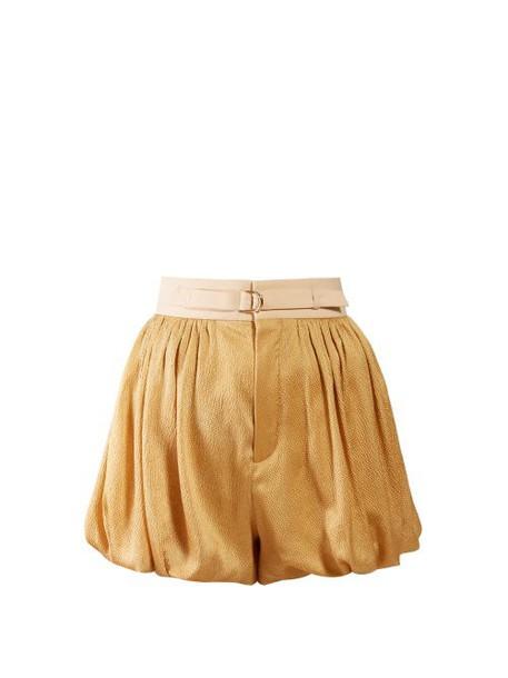Chloé Chloé - Dégradé Puffed Hem Silk Blend Shorts - Womens - Gold