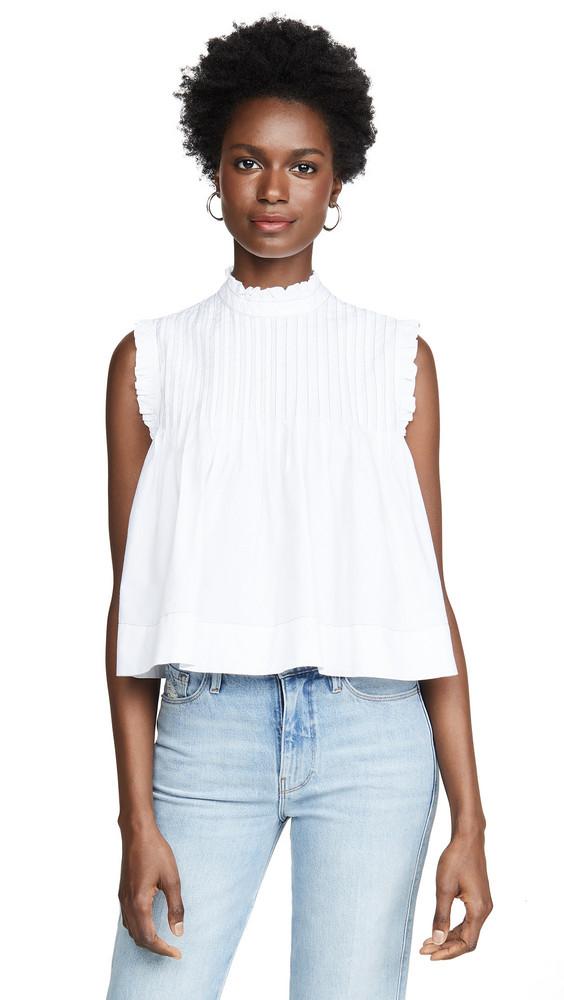 GANNI Cotton Poplin Top in white