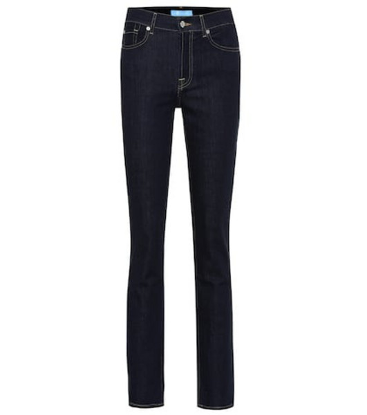 7 For All Mankind High-rise straight jeans in blue