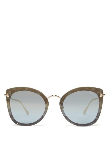 f5509ad9028a1 Tom Ford Eyewear Tom Ford Eyewear - Charlotte Oversized Cat Eye Acetate  Sunglasses - Womens - Blue