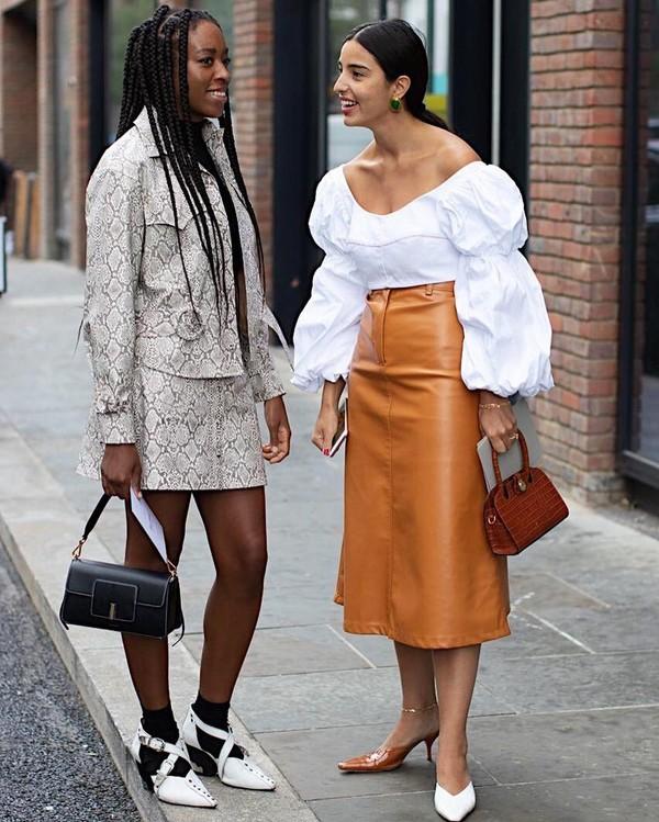 skirt leather skirt midi skirt mules brown bag white blouse