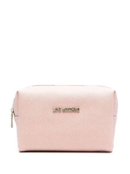 Love Moschino faux leather logo make-up bag in pink