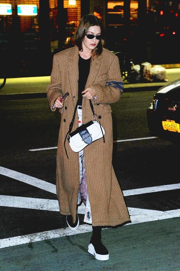 shoes gigi hadid model off-duty coat