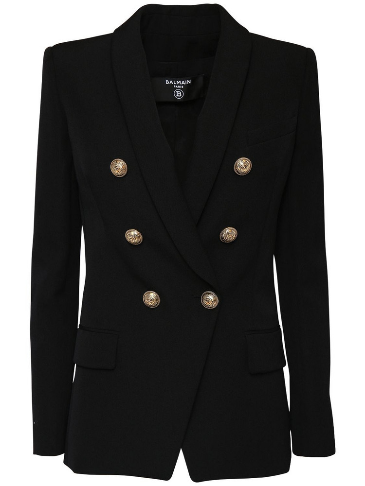 BALMAIN Grain De Poudre Double Breast Jacket in black