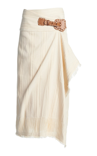 Johanna Ortiz Dream Catcher Cotton-Blend Wrap Skirt in white
