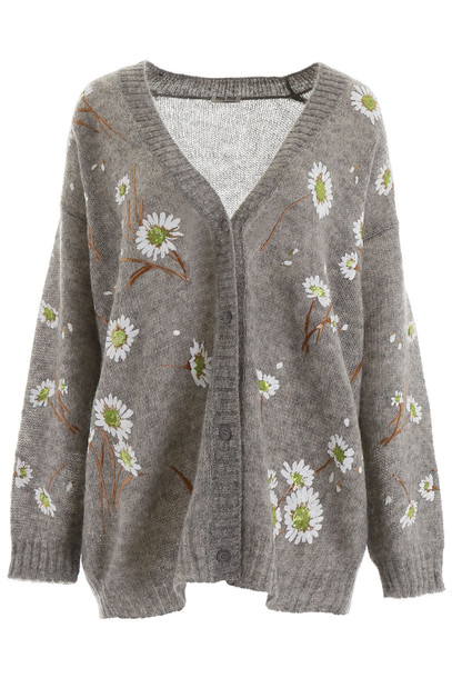 Miu Miu Cardigan With Embroidered Daisies in grey