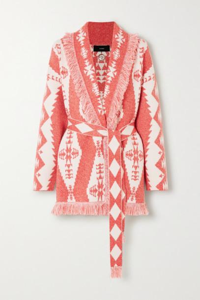 Alanui - Baja Belted Fringed Cashmere-blend Jacquard Cardigan - Red