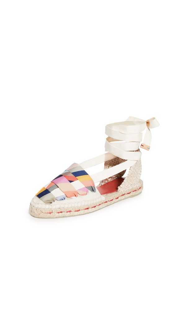 Castaner x Paul Smith Jean Lace Up Flat Espadrilles in ivory