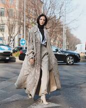 shoes,lace up boots,heel boots,long coat,trench coat,armani,high waisted pants,pleated,shirt,black turtleneck top