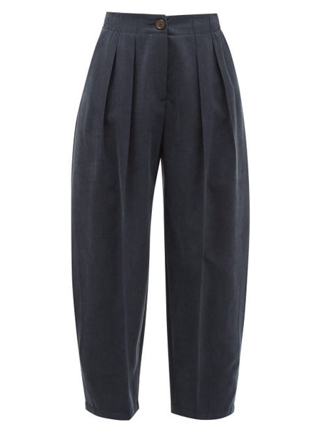 See By Chloé See By Chloé - Pleated Cropped Twill Trousers - Womens - Dark Navy