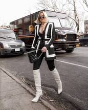 jacket,blazer,black and white,balmain,over the knee boots,white boots,heel boots,black pants,black bag,chanel bag,lace bodysuit