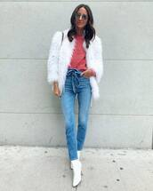 jeans,high waisted jeans,skinny jeans,white boots,ankle boots,white coat,faux fur coat,sweater,jacket,faux fur jacket